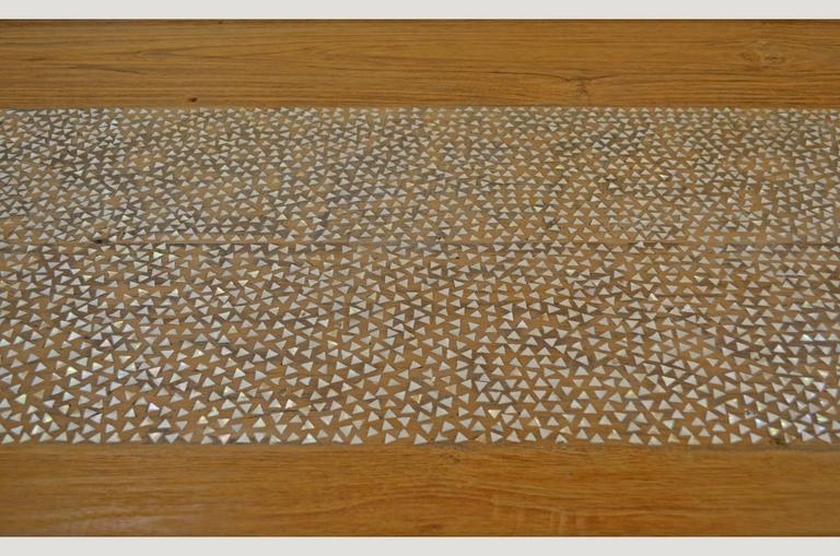Organic Modern Andrianna Shamaris Shell Inlay Teak Wood Dining Table For Sale