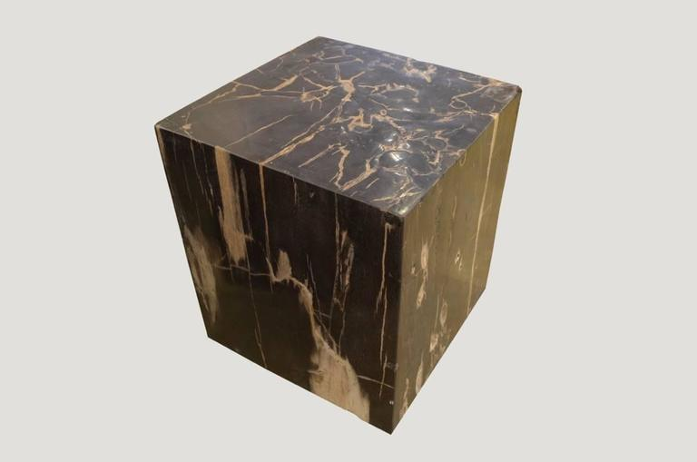 High quality petrified wood carved into a stunning square.  We source the highest quality petrified wood available. Each piece is hand selected and highly polished with minimal cracks. Petrified wood is extremely versatile, even great inside a