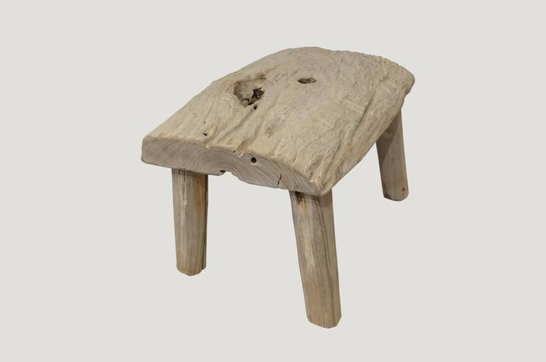 """Reclaimed 2"""" thick slab bleached teak stool or side table. Perfect for inside or outside living.  The St. Barts collection features an exciting new line of organic white wash and natural weathered teak furniture. The reclaimed teak is left to bake"""