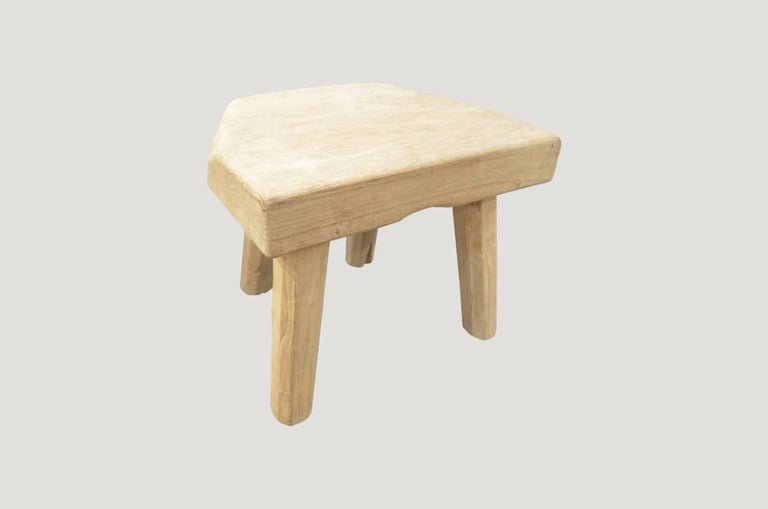 Andrianna Shamaris Bleached Teak Wood Side Table or Stool 2