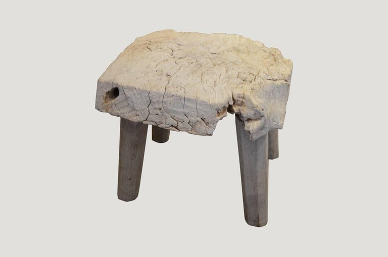 Bleached Teak Wood Stool or Side Table 2