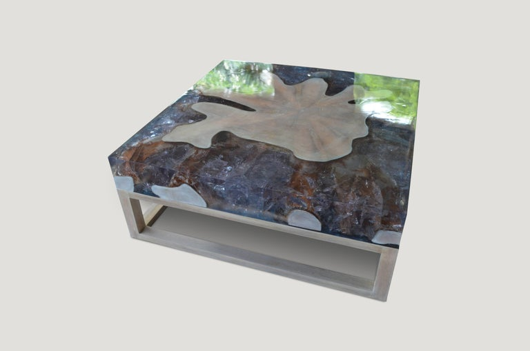 Contemporary Andrianna Shamaris St. Barts Teak Wood and Cracked Resin Coffee Table For Sale