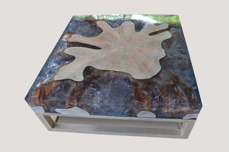 Organic Modern Andrianna Shamaris St. Barts Teak Wood and Cracked Resin Coffee Table For Sale