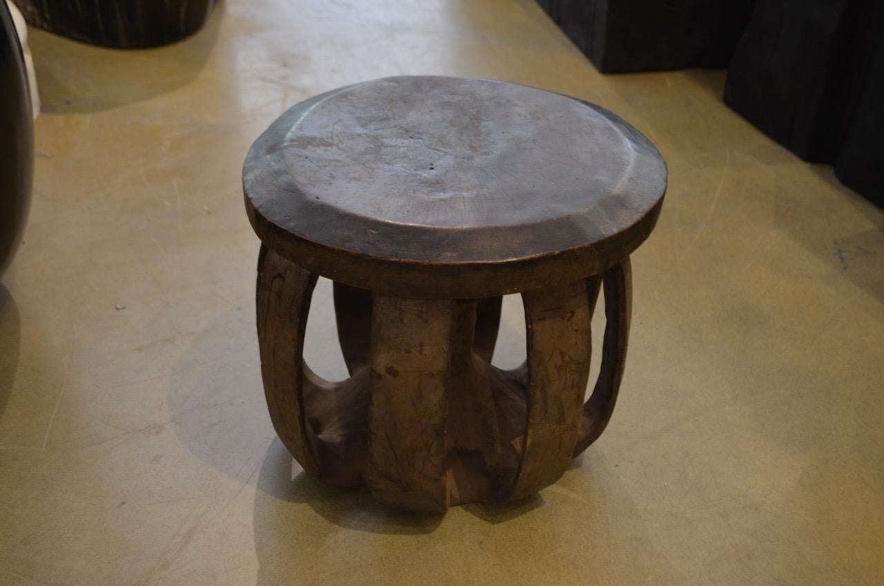 Organic Modern African Mahogany Wood Side Table Or Stool For Sale