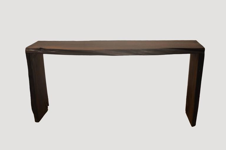 Organic Modern Andrianna Shamaris Single Burnt Teak Wood Console For Sale