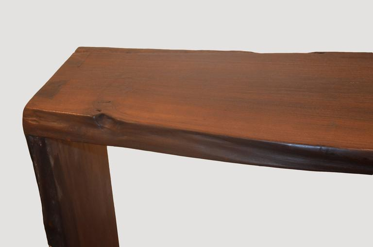 Andrianna Shamaris Single Burnt Teak Wood Console In Excellent Condition For Sale In New York, NY
