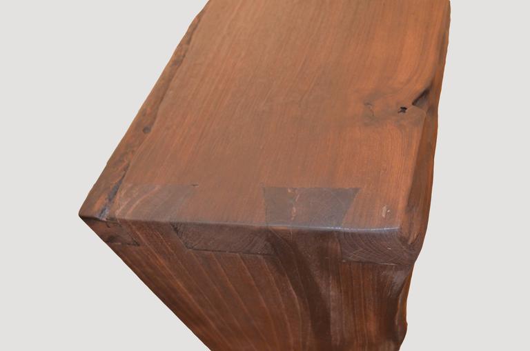 Contemporary Andrianna Shamaris Single Burnt Teak Wood Console For Sale
