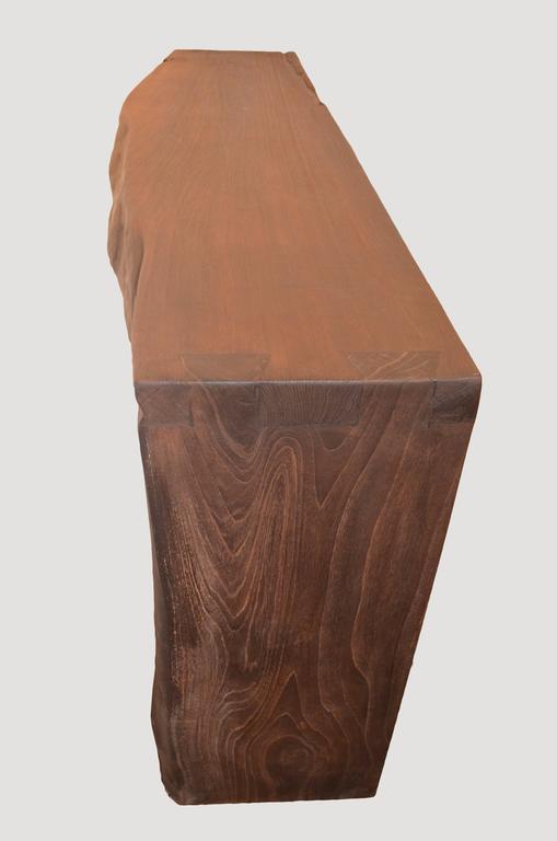 Andrianna Shamaris Single Burnt Teak Wood Console For Sale 1
