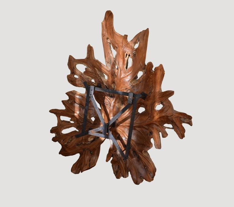Giant organic teak wood leaf sculpture. Hand-carved from a single slab. This is a beautiful wall sculpture that comes with the hardware as seen. Recessed, with lights behind, it will be a fabulous light fixture.  Andrianna Shamaris, Inc. The Leader