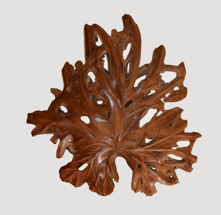 Andrianna Shamaris Giant Organic Teak Wood Leaf Sculpture In Excellent Condition For Sale In New York, NY