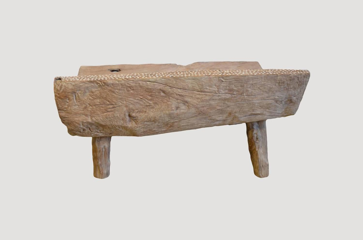 Antique Primitive Shell Inlay Bench At 1stdibs