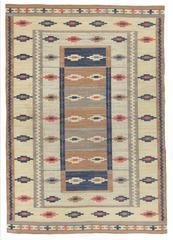 Marta Maas-Fjetterstrom 'Ljusa mattan', Swedish Handwoven Flat weave, 1928