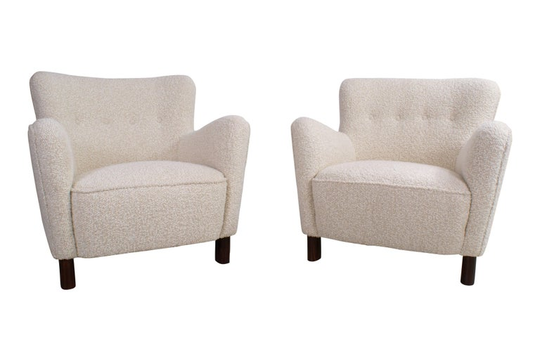 Mid-20th Century Fritz Hansen Pair of Easy Chairs, Model 1669 For Sale