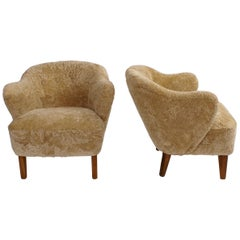 Flemming Lassen Pair of Easy Chairs in Honey Colored Sheepksin, 1940s
