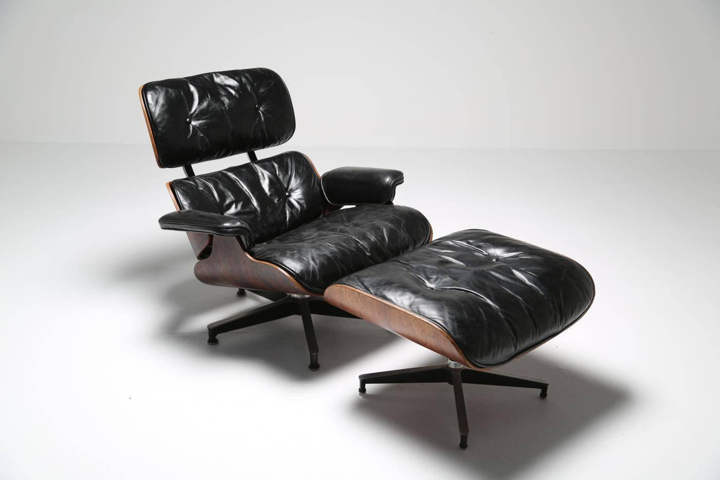 Rosewood And Leather Eames 670 Lounge Chair And Ottoman At