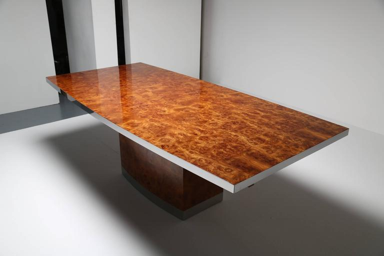 Jean Claude Mahey Maple Burl Dining Table With Chrome Trim