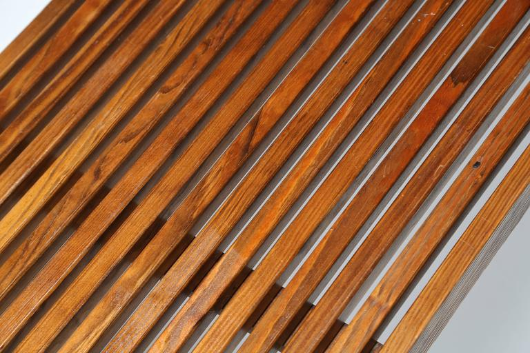 Slatted Walnut Bench Or Table With Brass Feet At 1stdibs