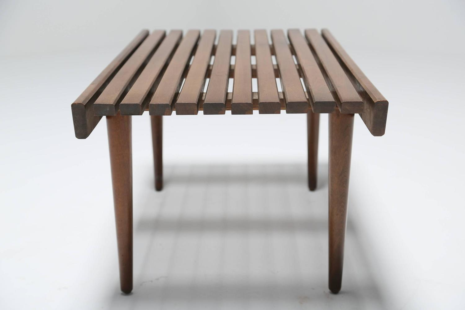 Small Wooden Bench : Small Wooden Slatted Bench, circa 1960 at 1stdibs
