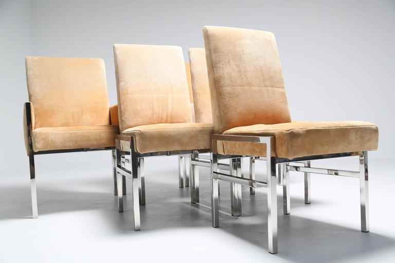 suede and chrome mid century dining chairs in the style of