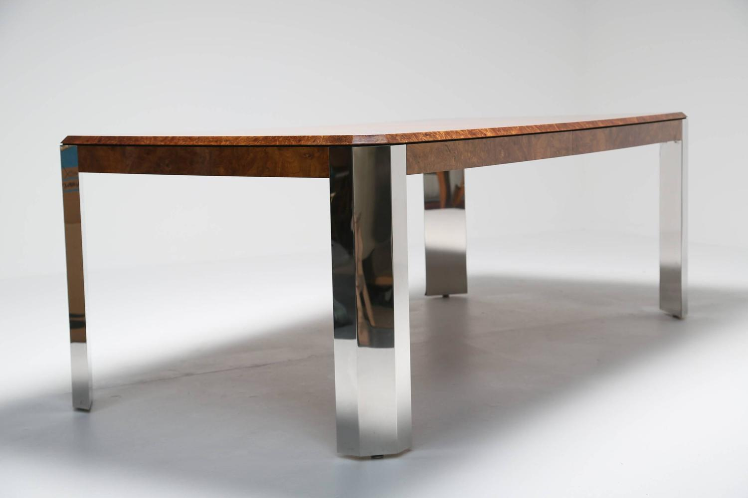 Pace collection dining table in burl maple and chrome at for Maple dining room table
