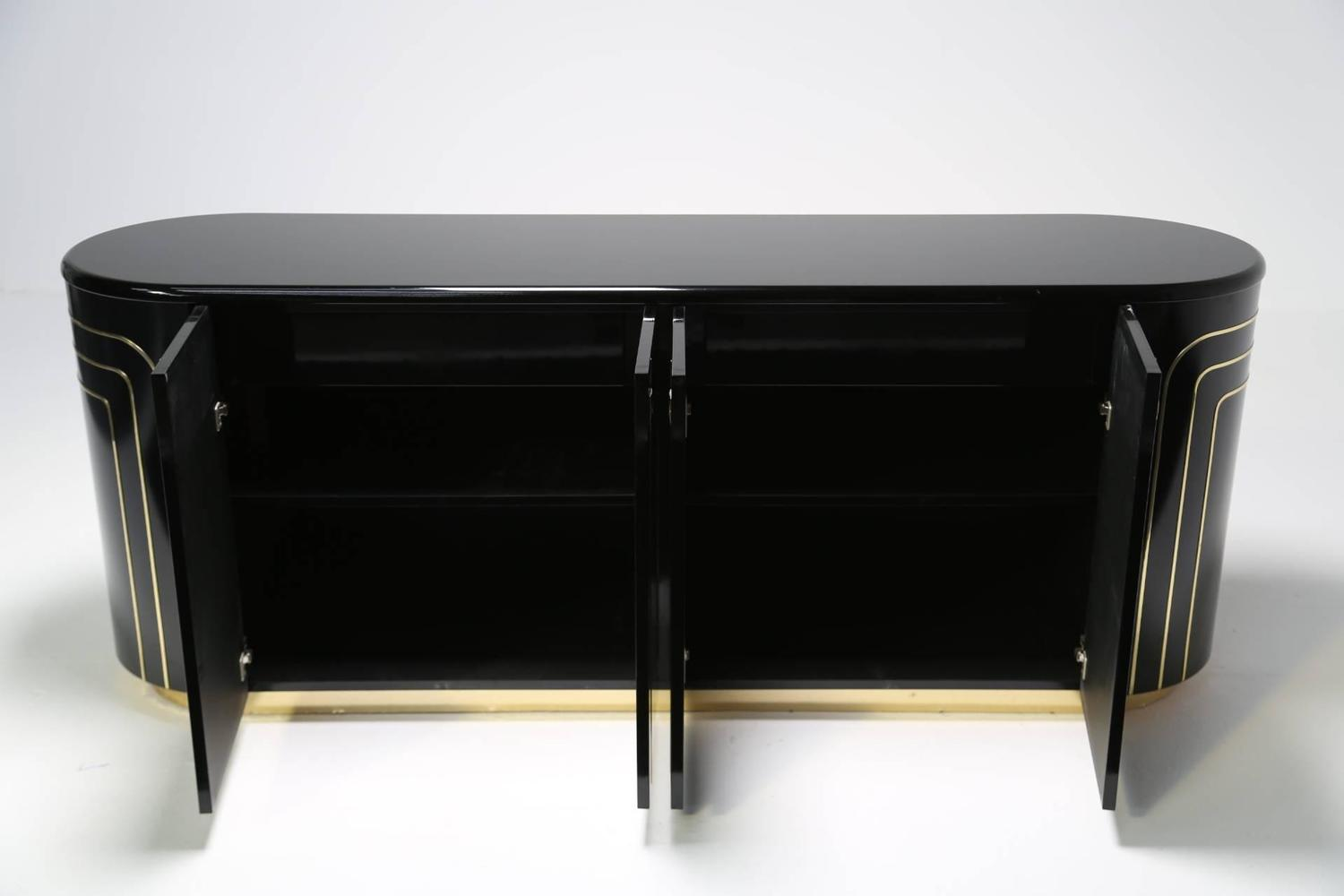 Black Lacquer And Brass Italian Sideboard At 1stdibs