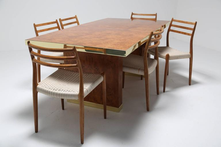 Exceptionnel Pierre Cardin Signed Burlwood And Brass Extending Mid Century Dining Table,1970s  For Sale 1