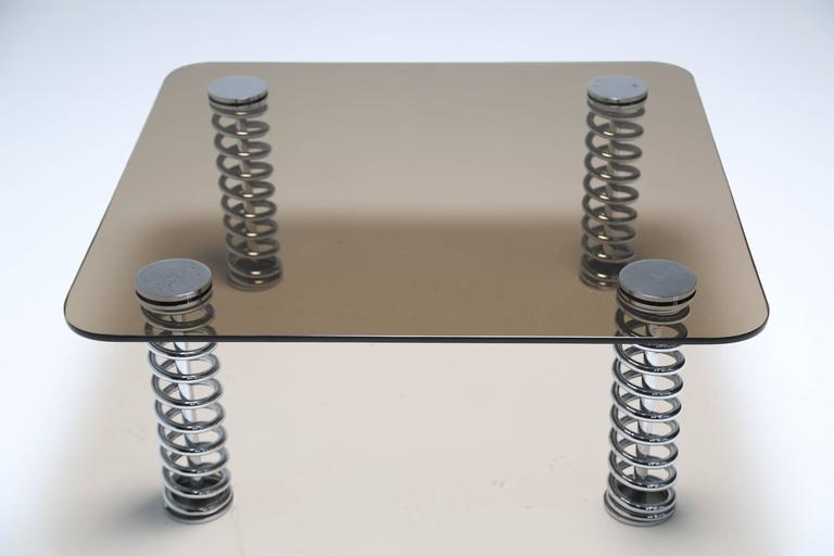 Mid-Century Modern Chrome Spring Coffee Table For Sale