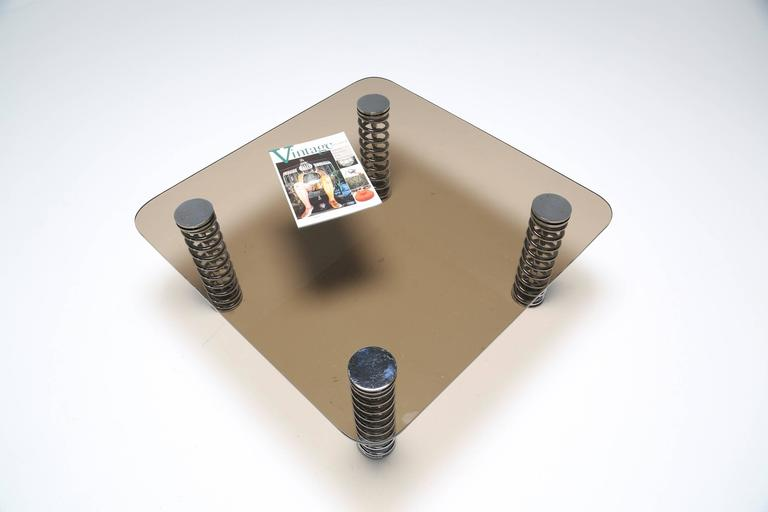 English Chrome Spring Coffee Table For Sale