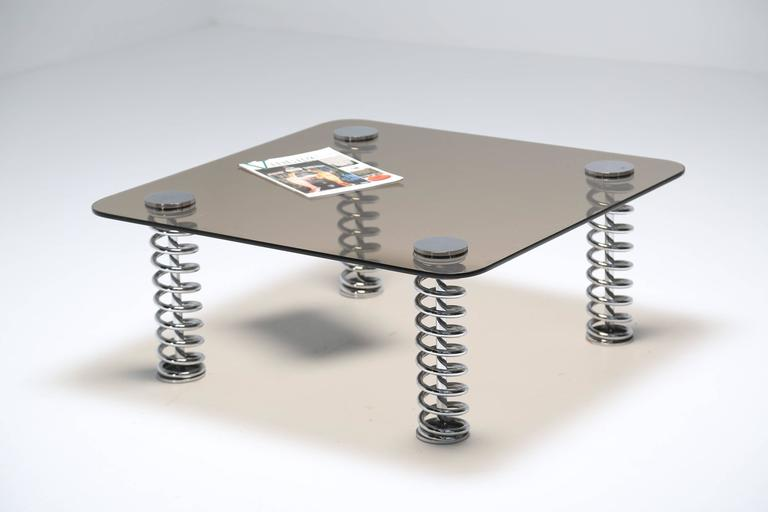 Late 20th Century Chrome Spring Coffee Table For Sale
