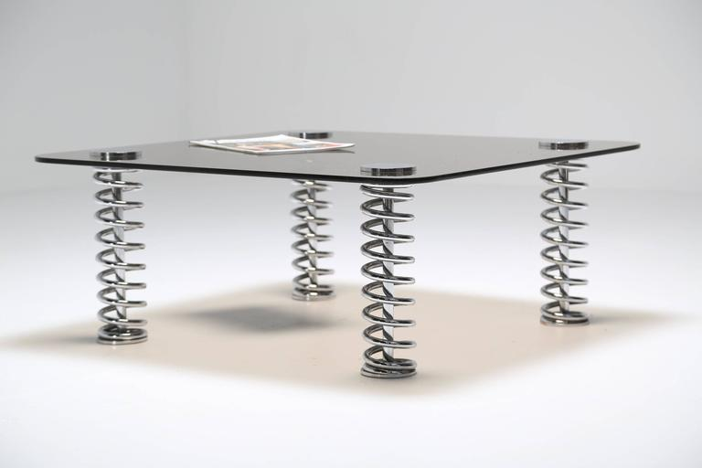 Chrome Spring Coffee Table For Sale 1