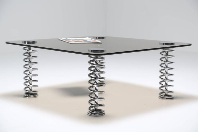 Chrome Spring Coffee Table For Sale 3