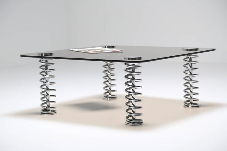 Chrome Spring Coffee Table For Sale 4