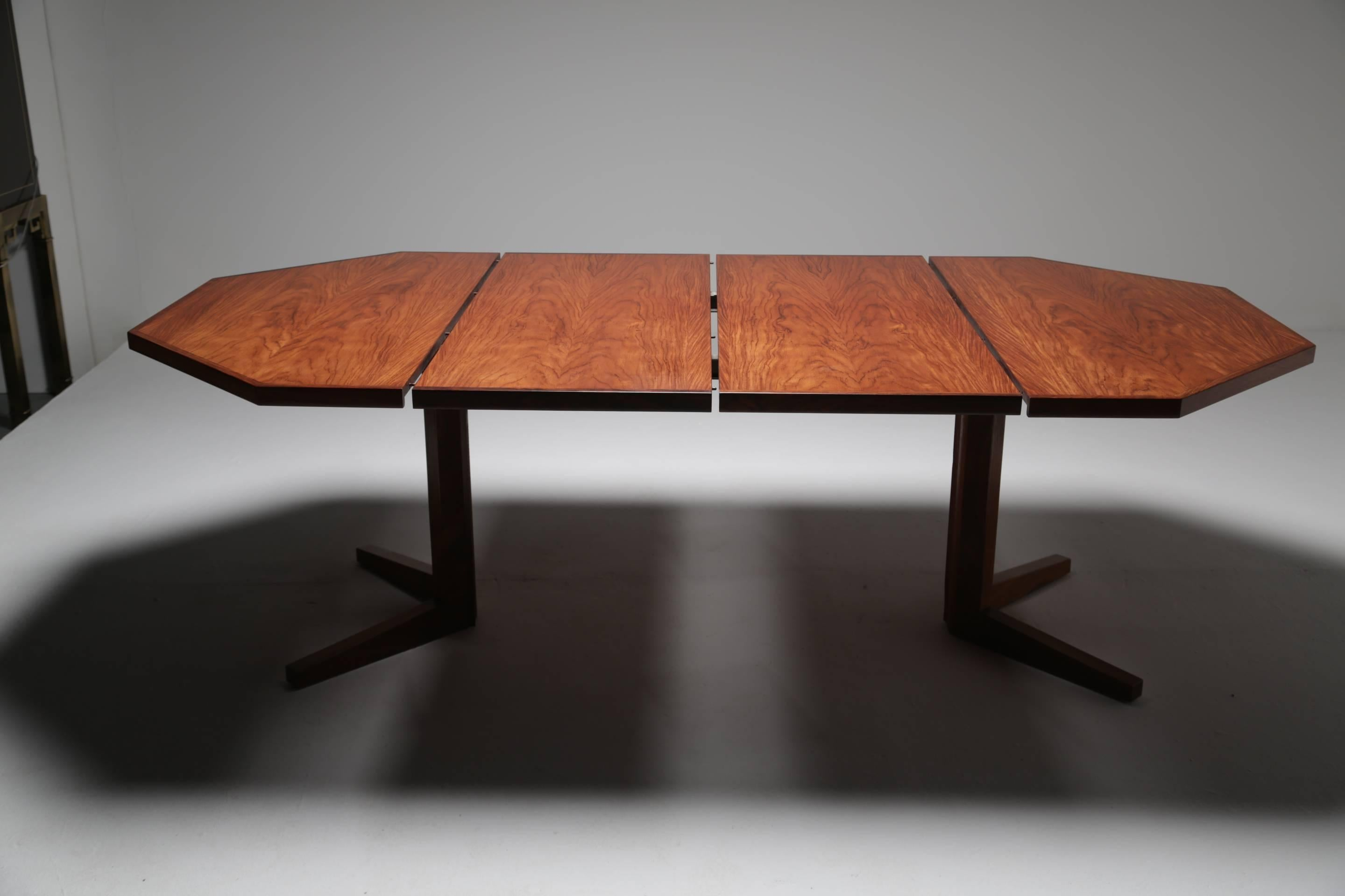 An Unusual Vintage Rosewood Dining Table Made By The Danish Factory  Dyrlund. This Midcentury Dining