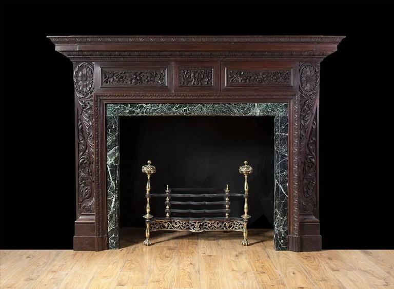 English Antique Carved Teak Fireplace At 1stdibs