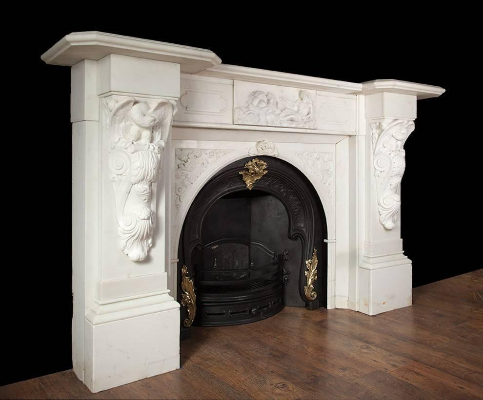 Antique irish marble fireplace for sale at 1stdibs for Marble mantels for sale