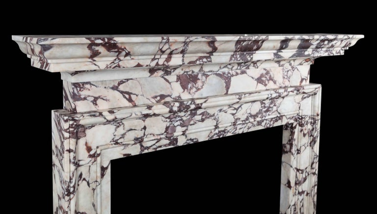 Modern Ryan & Smith Portavo Breccia Viola Marble Fireplace For Sale
