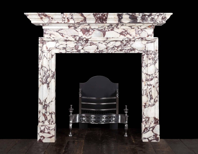 Carved Ryan & Smith Portavo Breccia Viola Marble Fireplace For Sale