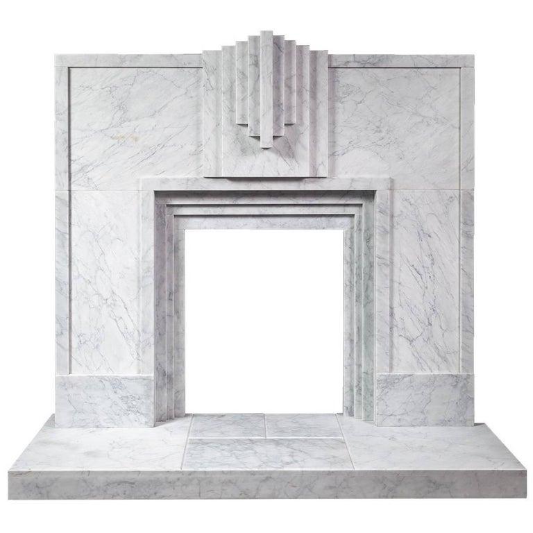 Art Deco Style Carrara Marble Fireplace