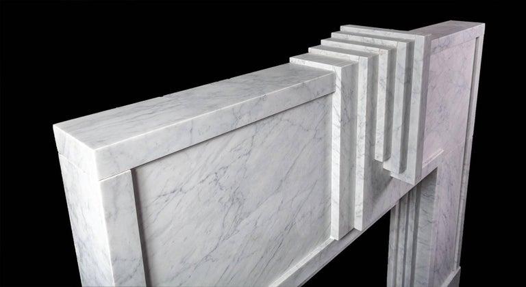 Northern Irish Ryan & Smith Mackintosh, Art Deco Style Carrara Marble Fireplace For Sale