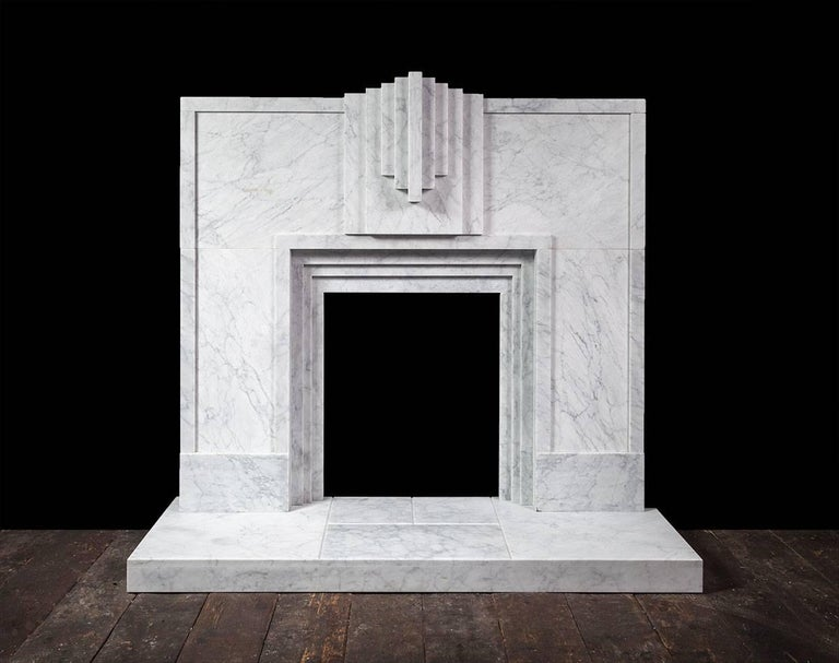 Carved Ryan & Smith Mackintosh, Art Deco Style Carrara Marble Fireplace For Sale