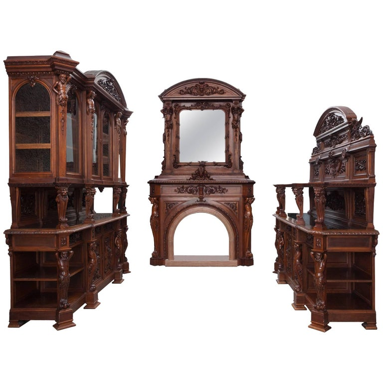 Antique Walnut Renaissance Suite For Sale