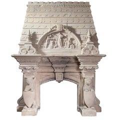 Magnificent Antique Limestone Fireplace
