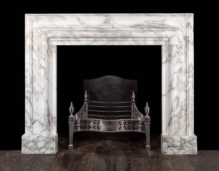 Northern Irish Ryan & Smith, Arabscato Bolection Fireplace For Sale