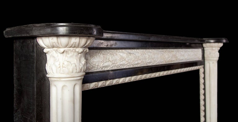 Carved French Empire Style Marble Mantelpiece For Sale