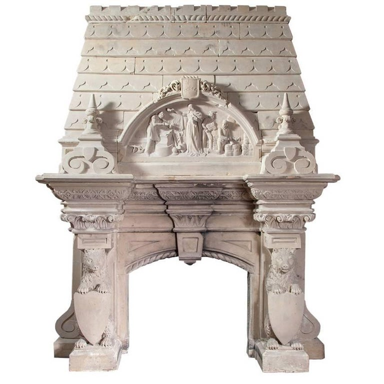 Magnificent Antique Limestone Fireplace For Sale