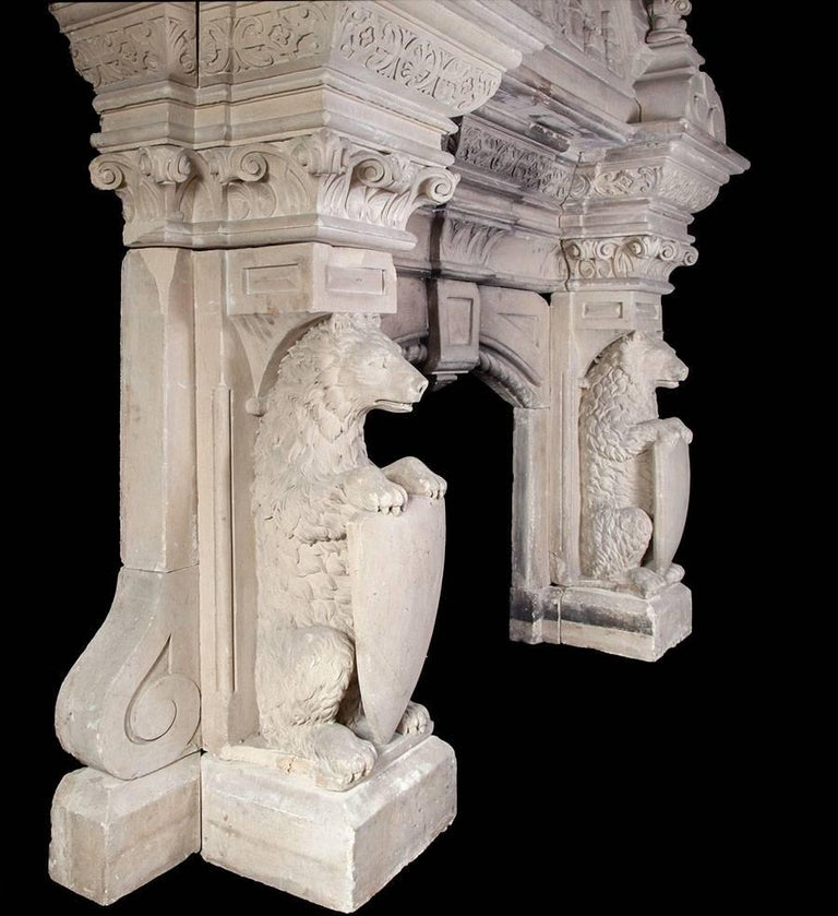 Gothic Revival Magnificent Antique Limestone Fireplace For Sale