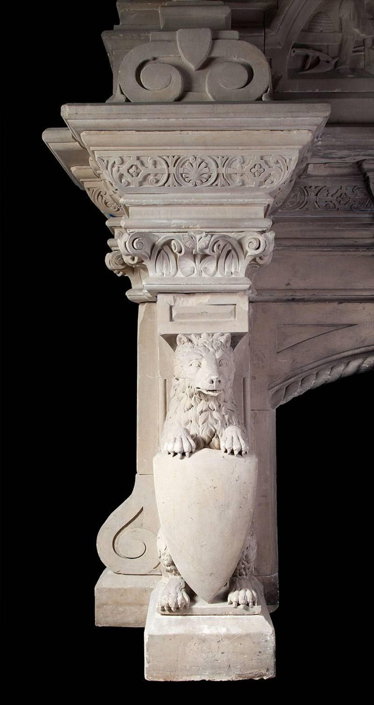 Carved Magnificent Antique Limestone Fireplace For Sale
