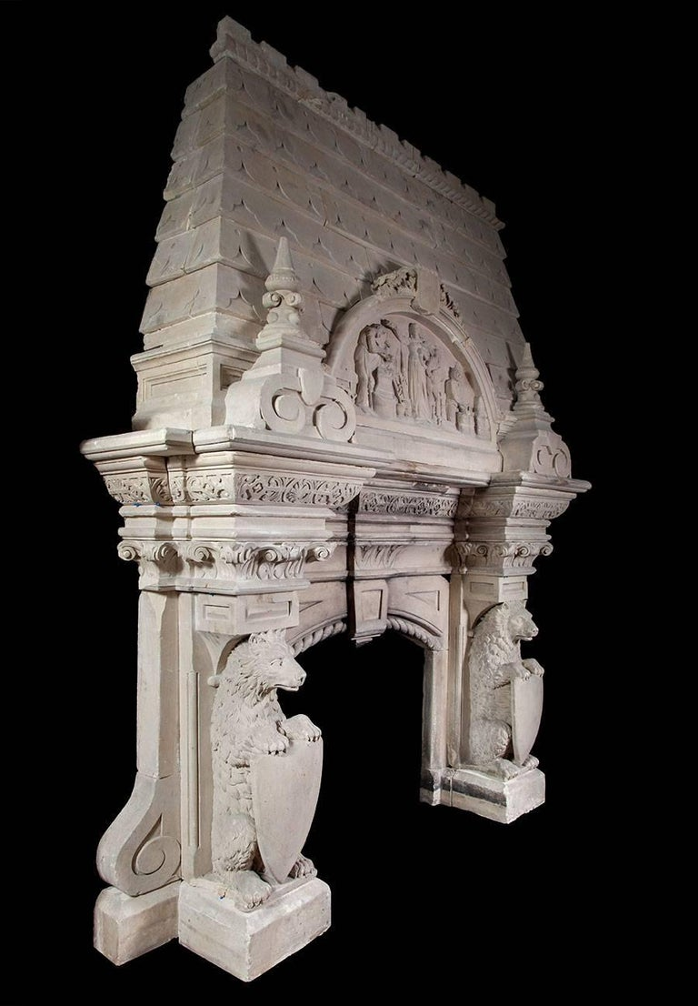 19th Century Magnificent Antique Limestone Fireplace For Sale