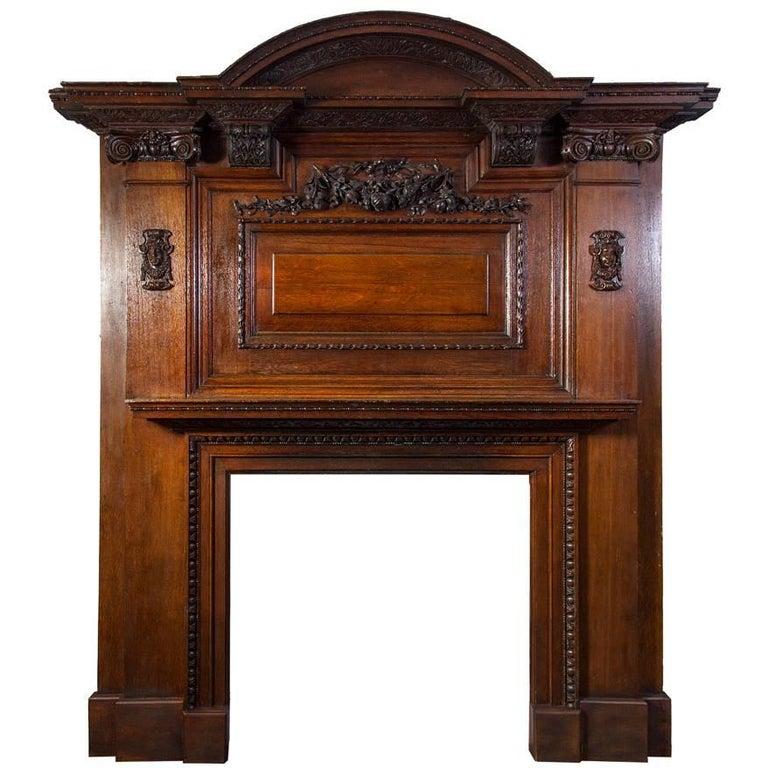 Large Antique Oak Fireplace For Sale