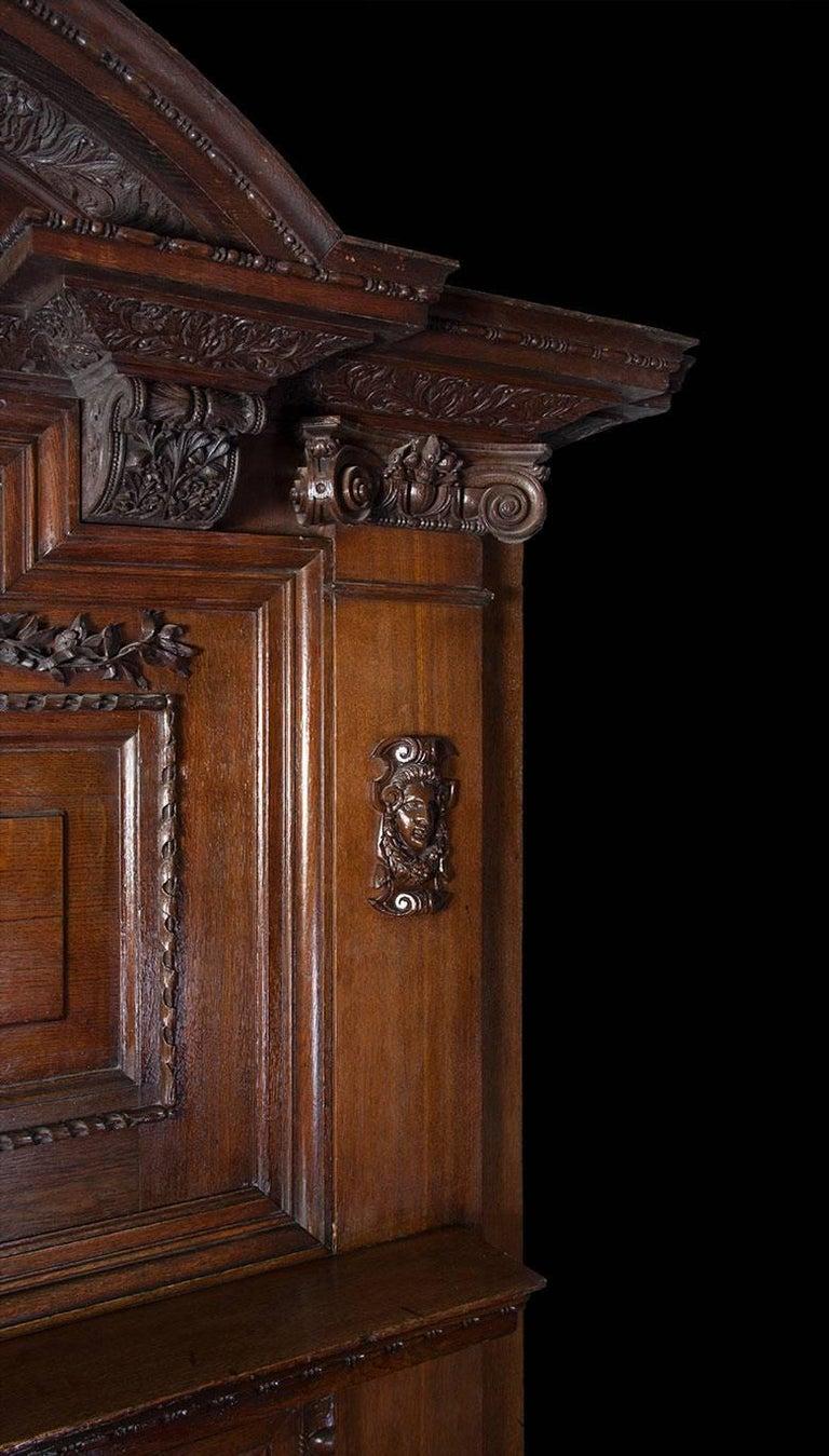 Baroque Large Antique Oak Fireplace For Sale